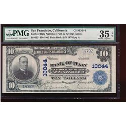 1902 $10 Bank of Italy National Note PMG 35EPQ