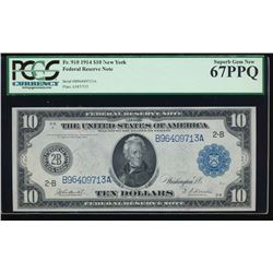 1914 $10 New York Federal Reserve Note PCGS 67PPQ