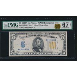 1934A $5 North Africa Silver Certificate PMG 67EPQ