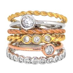 14KT Tri Color Gold 1.03ctw Diamond Ring
