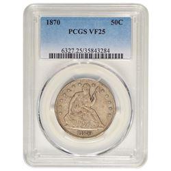 1870 Seated Liberty Half Dollar Coin PCGS VF25