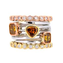 14KT Tri Color Gold 2.18ctw Fancy Diamond Ring
