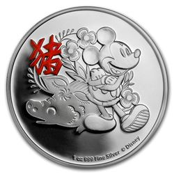 2019 $2 Disney Lunar Year of the Pig Niue Silver Coin