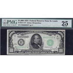 1934 $1000 St Louis Federal Reserve Star Note PMG 25