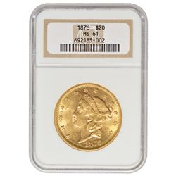 1876 $20 Liberty Head Double Eagle Gold Coin NGC MS61