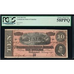 1864 $10 Confederate States of America Note PCGS 58PPQ