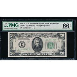 1934A $20 Richmond Federal Reserve Note PMG 66EPQ