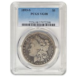 1893-S $1 Morgan Silver Dollar Coin PCGS VG08