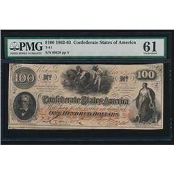 1862-63 $100 Confederate States of America Note PMG 61