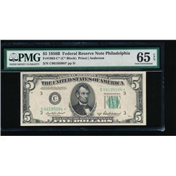 1950B $5 Philadelphia Federal Reserve Star Note PMG 65EPQ