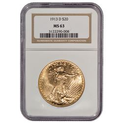 1913-D $20 St Gaudens Double Eagle Gold Coin NGC MS63