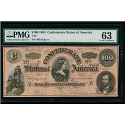 1864 $100 Confederate States of America Note PMG 63
