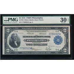 1918 $2 Philadelphia Federal Reserve Bank Note PMG 30EPQ