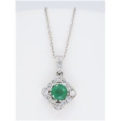 14KT White Gold 0.40ct Emerald and Diamond Pendant with Chain