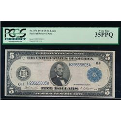 1914 $5 St Louis Federal Reserve Note PCGS 35PPQ