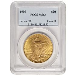 1909 $20 St Gaudens Double Eagle Gold Coin PCGS MS63
