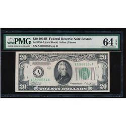 1934B $20 Boston Federal Reserve Note PMG 64EPQ