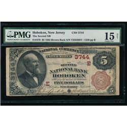 1882 $5 Hoboken Second National Bank Note PMG 15NET
