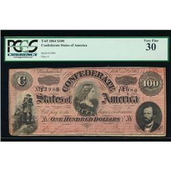 1862-63 $100 Confederate States of America Note PCGS 30