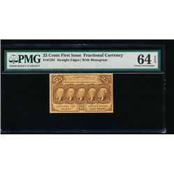 25 Cent First Issue Fractional Note PMG 64EPQ