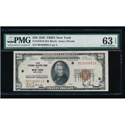 1929 $20 New York Federal Reserve Bank Note PMG 63EPQ