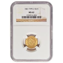 1861 $2.5 Liberty Head Quarter Eagle Gold Coin NGC MS62