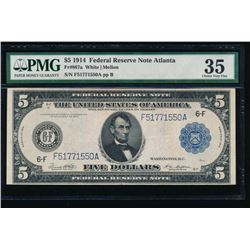 1914 $5 Atlanta Federal Reserve Note PMG 35