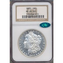 1883 $1 Morgan Silver Dollar Coin NGC MS64DPL CAC