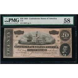 1864 $20 Confederate States of America Note PMG 58