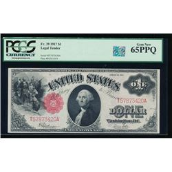 1917 $1 Legal Tender Note PCGS 65PPQ