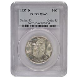 1937-D Walking Liberty Half Dollar Coin PCGS MS65