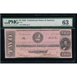 1862 $2 Confederate States of America Note PMG 63