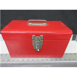 Red Metal Toolbox with Assorted size Crescent Wrenches