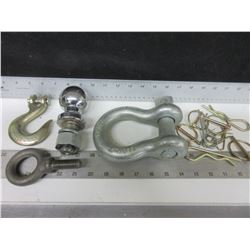 Large 8-1/2ton shackle / 1-5/16 Ball / Tow Hook / 5/8  A-2 Eye / assorted Pins