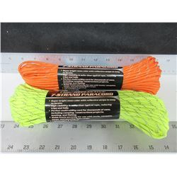 2 New 7 Strand Paracord 550lb / 100ft per roll / high visibility / so many uses