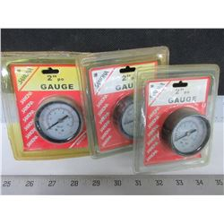 "3 New Samona 2"" Pressure Gauges / ARKA99 / 0-150PSI / 1/4"" NPT"