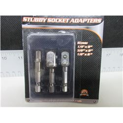 "New 3 piece Stubby Socket Adaptors / 1/4"" / 3/8"" / 1/2"" / all 2"" long"