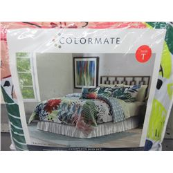 New Colormate Twin Comforter complete bed set 6 piece