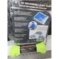 New 8 x 10ft Poly Tarp & 100ft  7 Strand Paracord 550lb