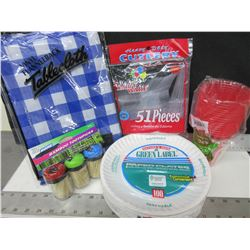 Camping Bundle of Goodies / Plates , Cutlery , Tablecloth , Cups & Toothpics
