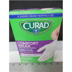 New box of 100 Curad Latex Exam Gloves / Powder free one size fits most