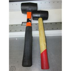 2 New Rubber Mallets / 16oz & 8oz