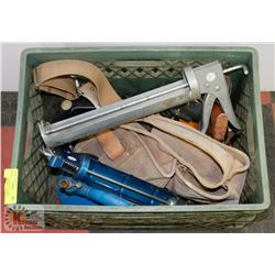 CRATE OF TOOLS, INCLUDES ELECTRIC DRILL, LEATHER