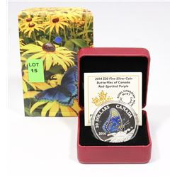 2014 RCM $20 FINE SILVER COIN: BUTTERFLIES OF