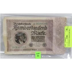 1923 GERMAN 100,000 MARK BILL.