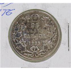 KEY DATE 1905 EDWARD VII 25 CENT COIN