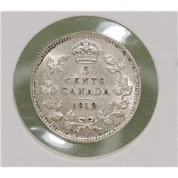 1912 CANADIAN GEORGE V 5 CENT COIN