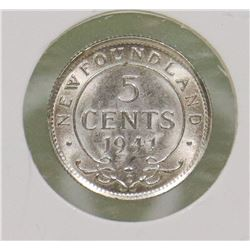 UNCIRCULATED NEWFOUNDLAND 1941 C SILVER 5 CENT