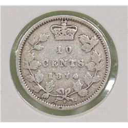 1874H CANADIAN QUEEN VICTORIA 10 CENT COIN