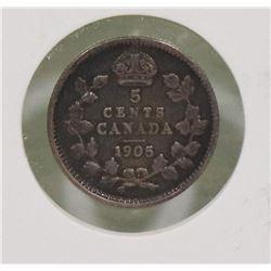 1905 CANADIAN EDWARD VII 5 CENT COIN